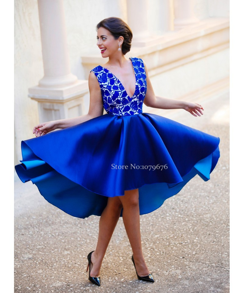 Fashion 2016 Royal Blue Women Dress Short Backless Prom
