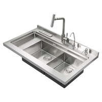 Aifia Handmade Kitchen Sink Double Bowl Stainless Steel Kitchen Sink JDBJC-1000-B1