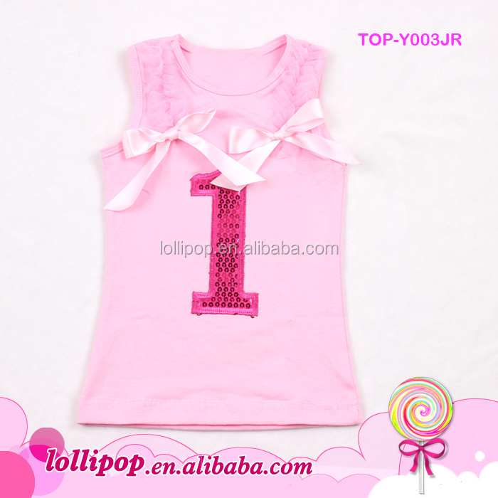 Lovely Toddler 1 Year Old Birthday Wear Soft Newborn Baby Pink Cotton T Shirts With Sequin Number