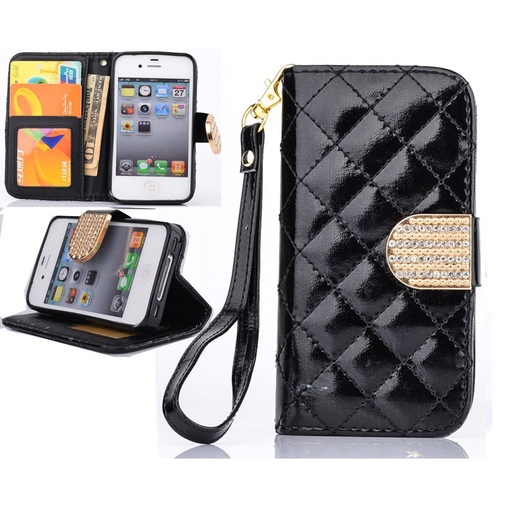5S Wallet Case,iPhone 5S Case,iPhone 5S Leather,iPhone 5S Leather Case,Canica Flip PU Wallet Case Cover For iPhone 5 5S With Strap Black