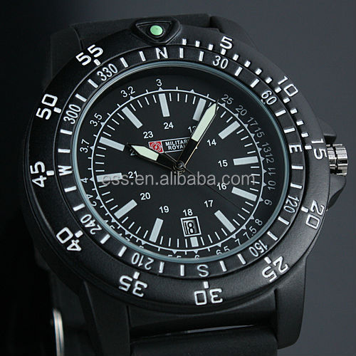 New Swiss Design Mens Black Dial Military Functional Bezel Military Wrist Watch MR063