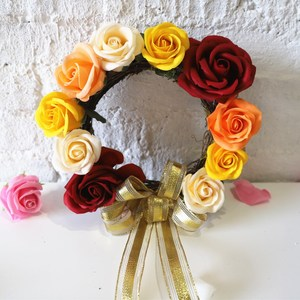 Christmas wall hanging decorations rattan-weaved soap rose flower garland yellow