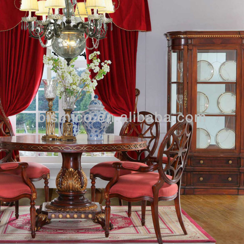 British Empire Round Dining Table Set Wood Carved Room Furniture Luxury Golden Rococo Style