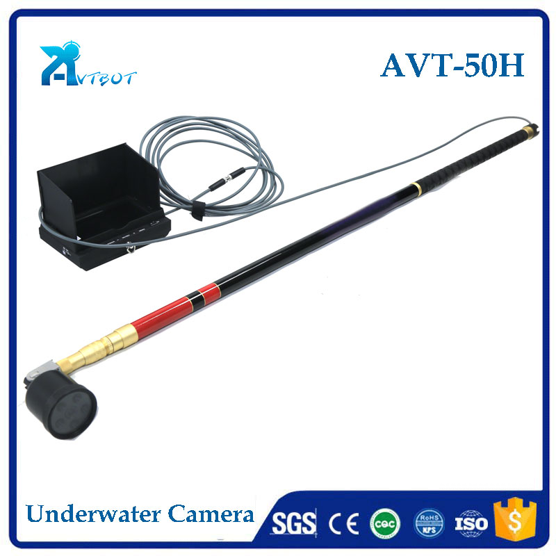 Portable extendable telescopic pole video inspection camera for fish cage culture
