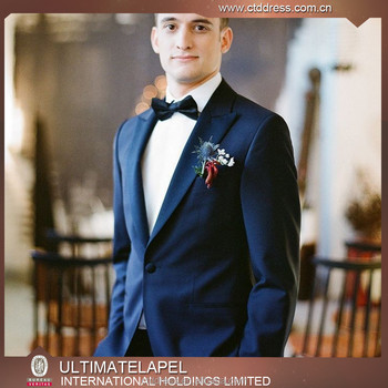 2017 Latest Design Groom Navy Blue Wedding Suits Men S Slim Fit