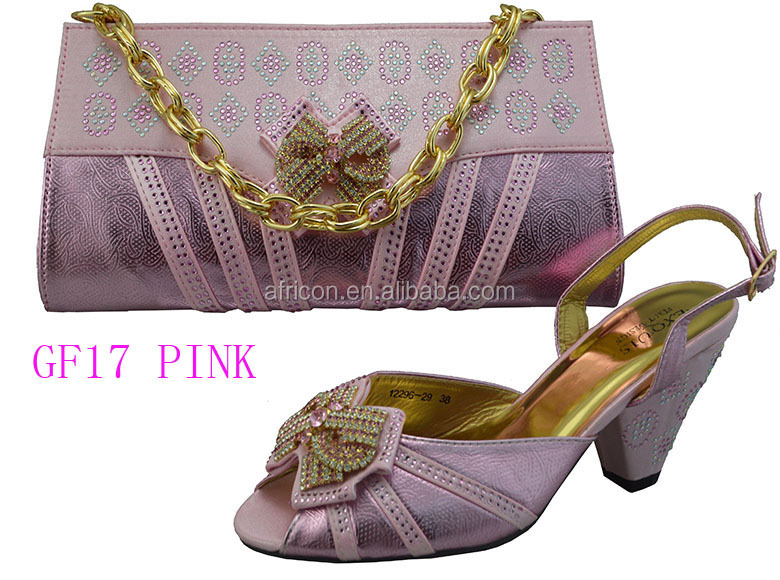 f335028a89 GF17 gold low heel bridal shoes and bag set african women matching shoes  and bag