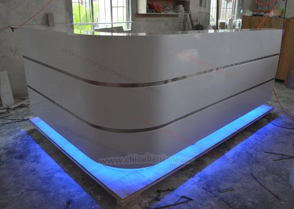 Manufacturer of custom contemporary portable salon for L shaped salon reception desk