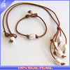 GENUINE DISTRESSED LEATHER WISH PEARL NECKLACE GIFT SET