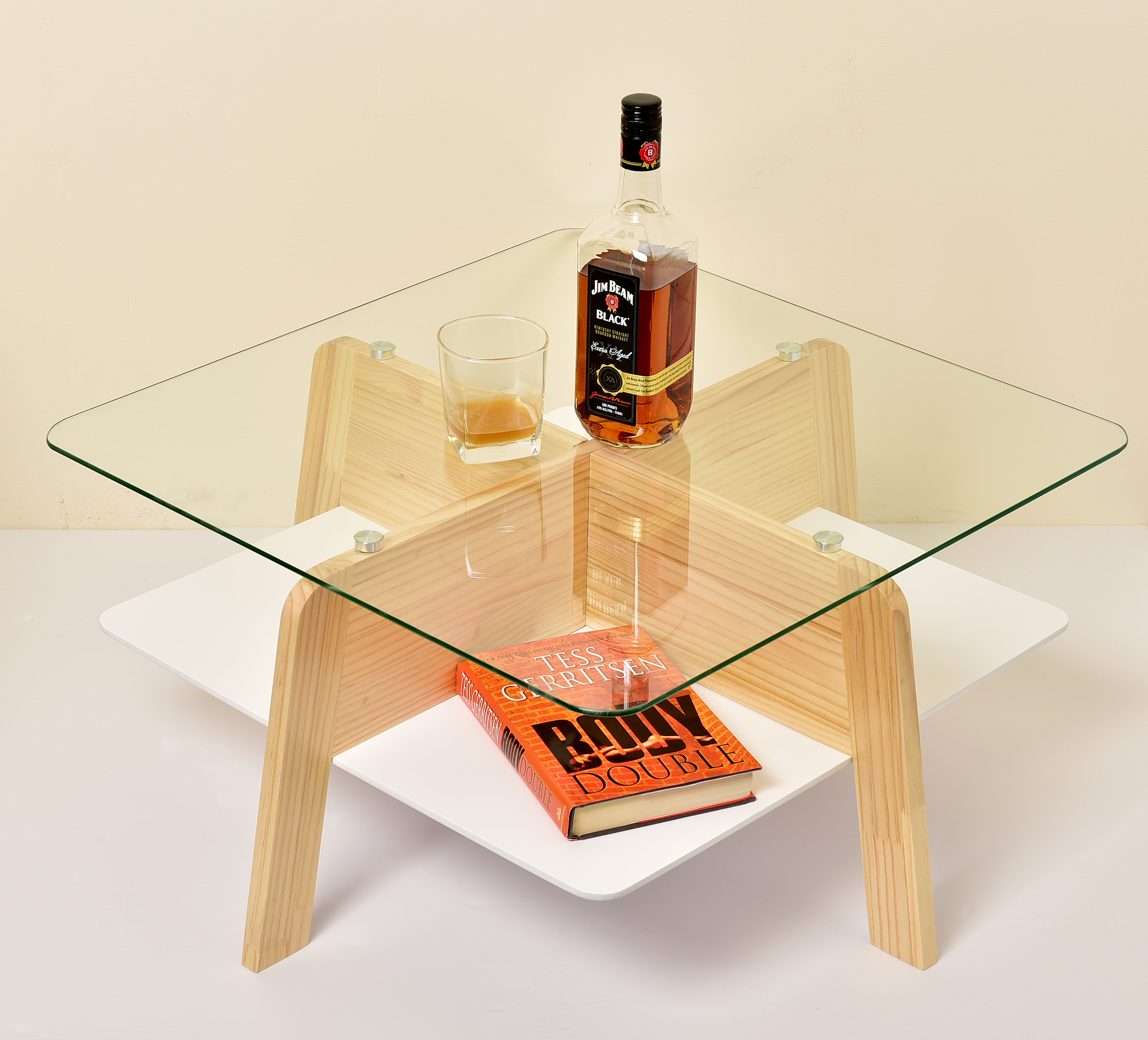 Round wooden tempered glass table with wood table leg