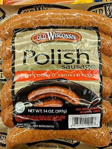 Old Wisconsin Smoked Polish Sausage Links 14 Oz (4 Pack)