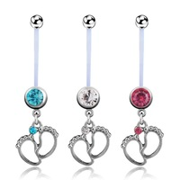 VRIUA Baby Feet Pendants Dangle Surgical Steel 316L Navel Pregnancy Belly Ring Women Body Piercing Jewelry
