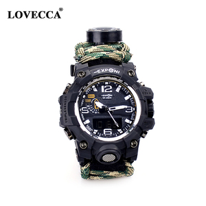 High quality waterproof outdoor paracord watch with thermometer compass and adjustable strap