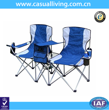 Outdoor 2 Person Seat Folding Beach Camping Chair With Tea Table