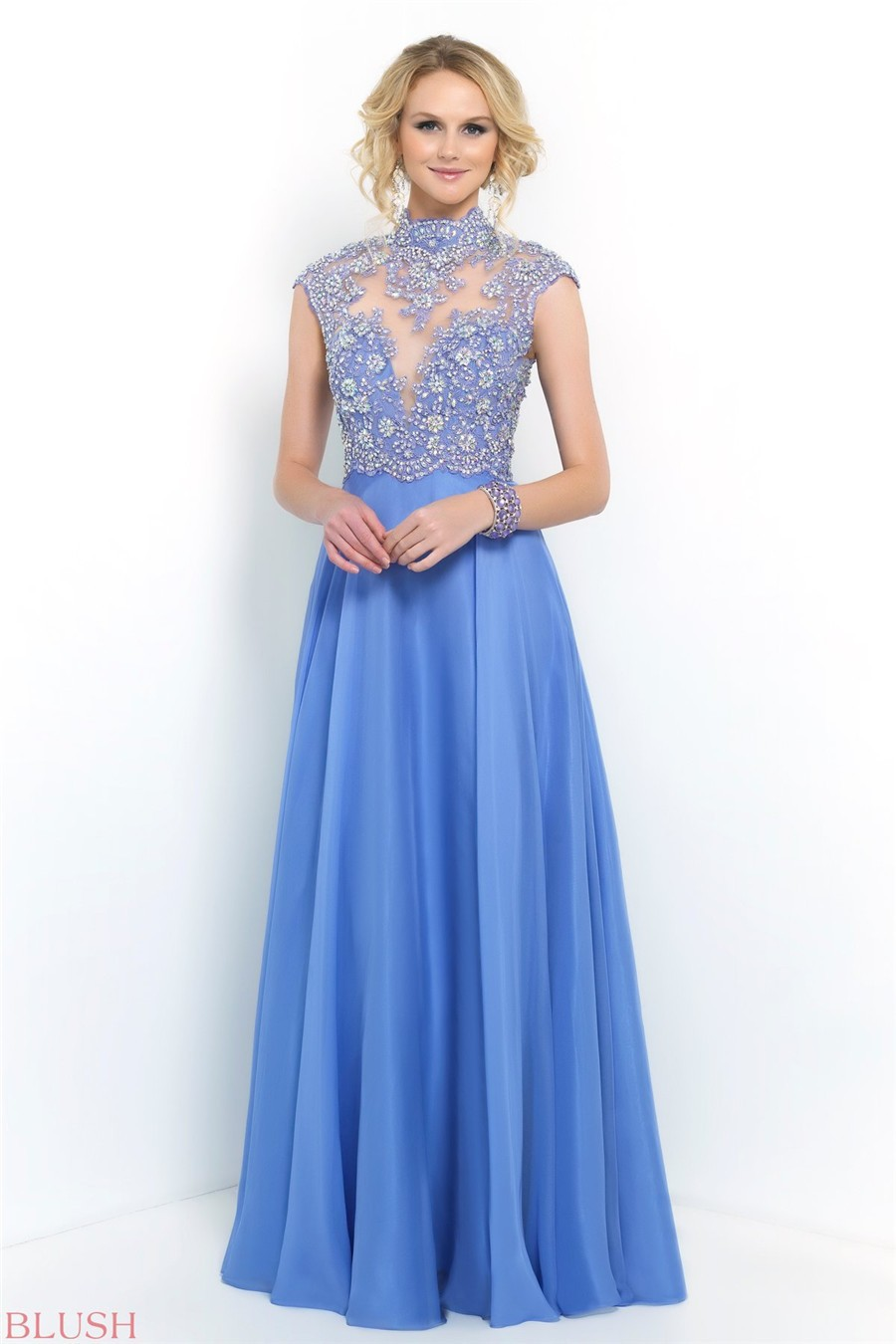 Get Quotations · High Neck Open Back Beaded Sheer Light Blue Prom Dresses  Wth Short Sleeve 2015 Plus Size