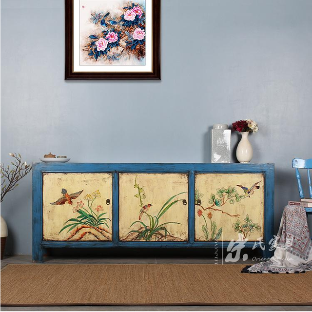 Chinese Antique Reproduction Furniture China Antique Chinese Vintage Style  Solid Wood Blue Three Door Box With
