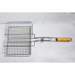 Portable bbq charcoal net grid stainless steel grill corn wire mesh basket
