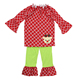 Latest Children Fall Boutique Christmas Ruffle Outfits Fashion Kids Clothing Wholesale