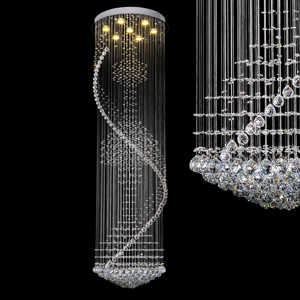 New Design Living Room Round Spiral Re Crystal Lighting Chandelier Om88510 60 Led Modern