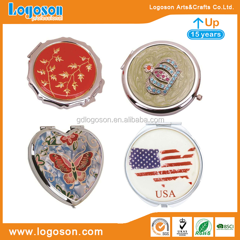 Metal Compact Mirror Custom Round/Heart Shaped Crown, US Flag, Flower Mirror Factory