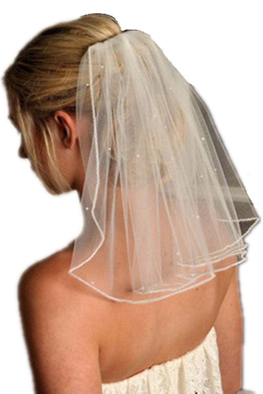 Dzzinme Sparkly 1 Layer Pencil Edge Sequined Short Bridal Veils Wedding Veil