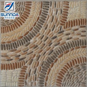 40x40cm Popular Indoor Bathroom Or Garden Outdoor Flooring Pebble Pavement Look Ceramic Glazed Tiles Made In
