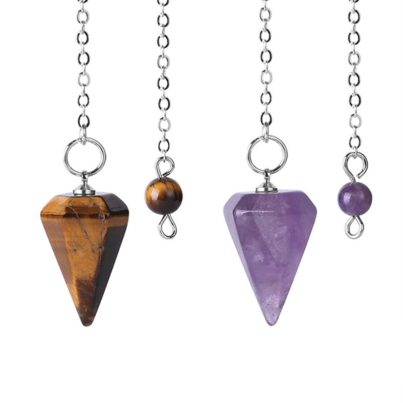 iBelly Cristal Colgante Colgante P/éndulo de Obsidiana Piedra Natural Collar de P/éndulo P/éndulo Adivinaci/ón Suministros