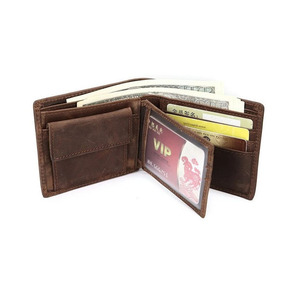 Oempromo fashion genuine crazy horse leather wallet for men