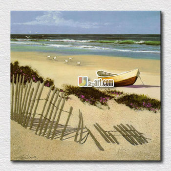 Canvas Painting Small Boat On Beach