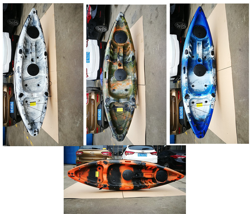 2020 China OEM wholesale hot for sale clear plastic canoe single sea kayak fishing with paddle,motor and fish finder