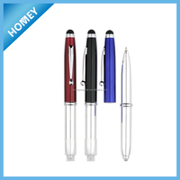 New promotion Metal Ballpoint Pen with led light, touch screen pen