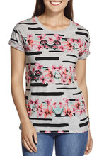 Wholesale 100% cotton rubber printing women t shirt