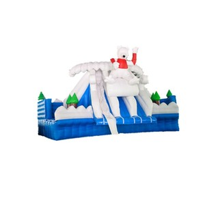 outdoor white bear inflatable pool slide used for water park