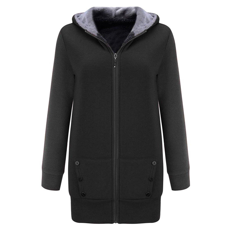 d539d0fe87e98 Get Quotations · Women Hoodie Coat, Zulmaliu Women Winter Warm Velvet  Thicker Coat Hoodie Jacket Outwear Sweatshirt Overcoat