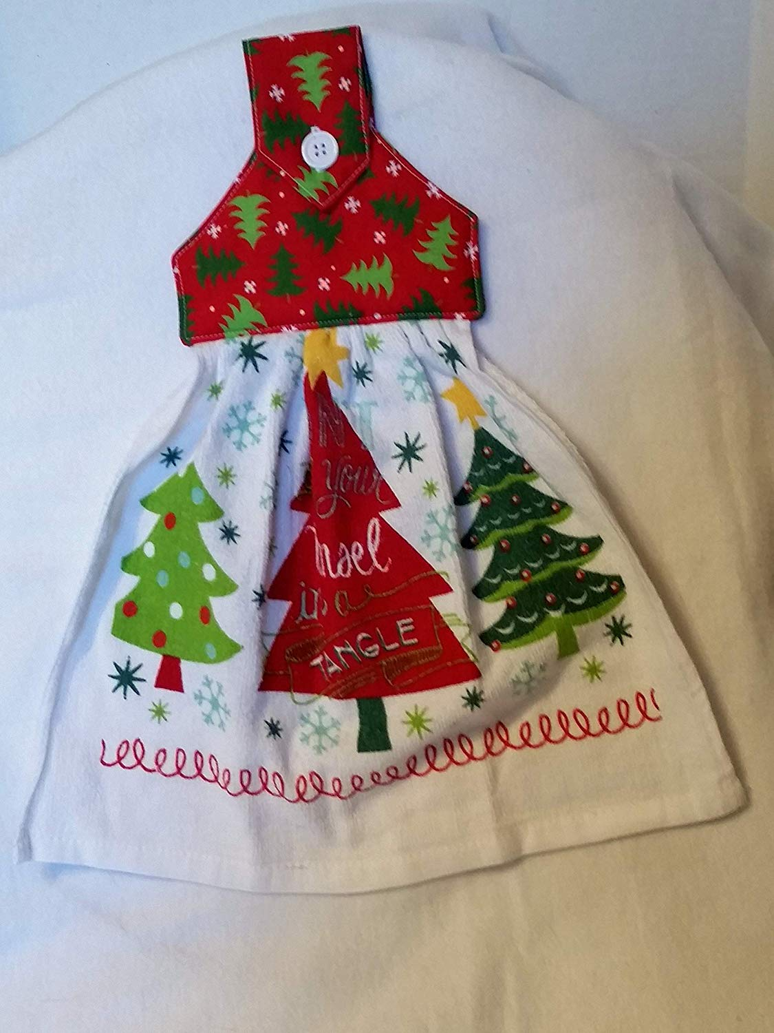 Christmas Kitchen towel with Christmas trees, Oven Door towel with Button Closure, 400