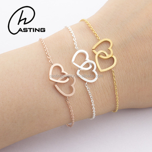 316l Stainless Steel Gold Hand Chain Heart Charm Bracelet