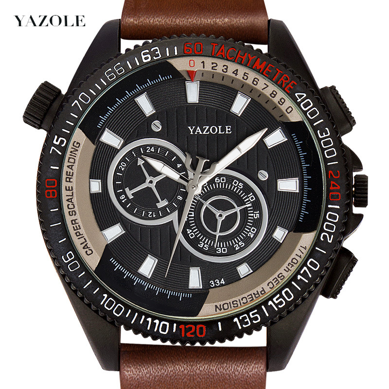 Yazole Z 334 Unique Design Waterproof Watches Personality Leather Luminous Factory Professional Mens Watch