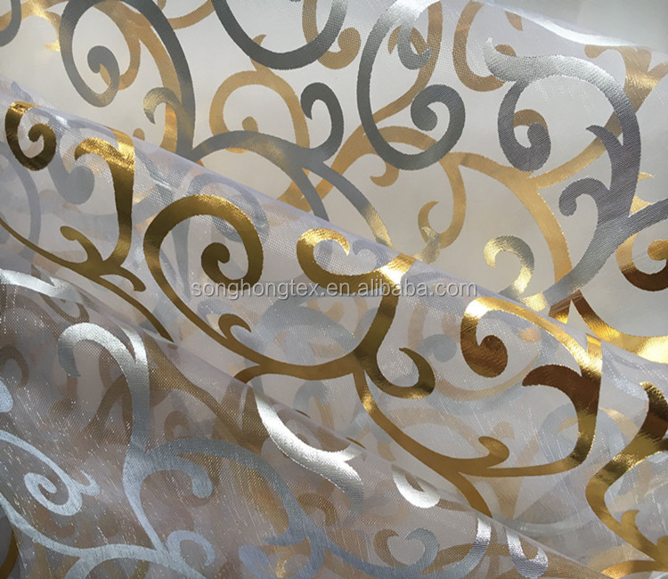 Polyester Printed Sheer Ogranza Fabric Foil with Gold Stamping for Upholstery Market