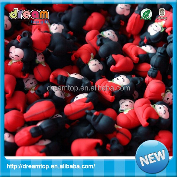 Trade assurance tradition chinese style red doll pvc keychain 500 supplier