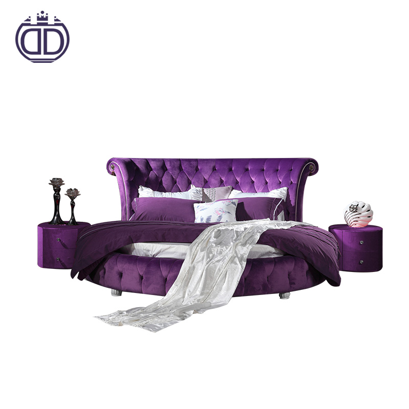 big adult antique double purple round bed on sale set fabric design bedroom metal strong bed frame king size round bed