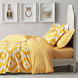Rhombus Yellow Bedding Duvet Cover Set Kids Bedding Teen Bedding Dorm Bedding Gift Idea, Queen Size