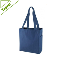 600D Polyester Folding Shopping Bag Tote Bag with Side Pocket
