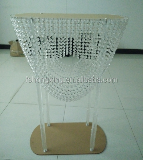 clear acrylic wedding table chandelier for wedding decoration/hanging crystal cake stand