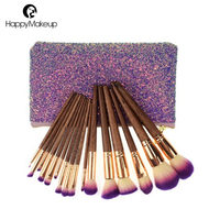 Hot selling 16 pcs new glitter makeup brush supplier private label glitter bag makeup brush
