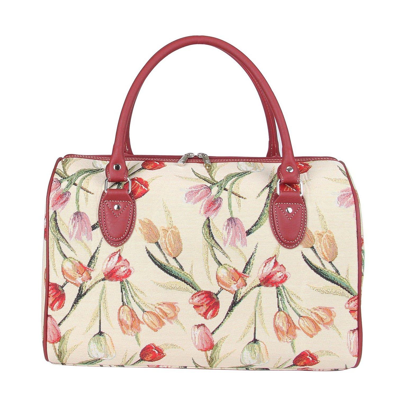 Signare Tulip Floral Ladies Women s Tapestry Travel Duffel Weekender Bag  Hand Luggage Overnight Bag (Trav ddb4033dac56a