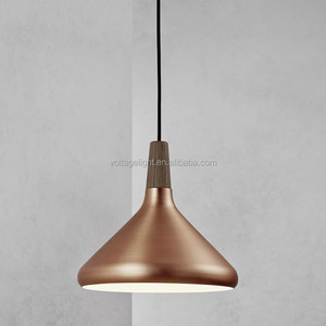 Decorative Indoor Lighting Vintage Brass Metal With Wood Hanging Pendant Light