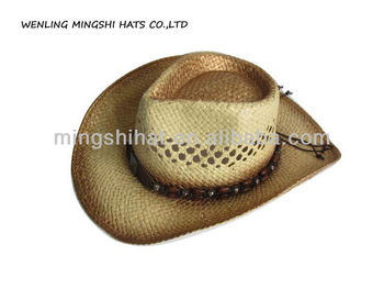Lala Paper Hand Weave Straw Hats With Painting Cowboy Style - Buy ... ab8f098b2f8