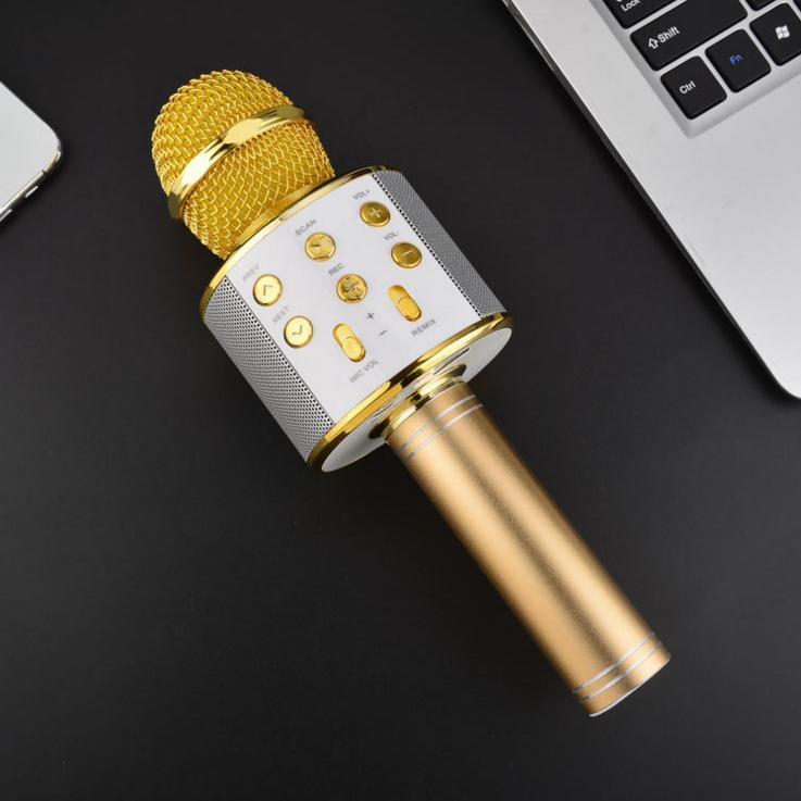 Mic Hát Karaoke Kèm Loa Bluetooth WS-858 Đa Năng