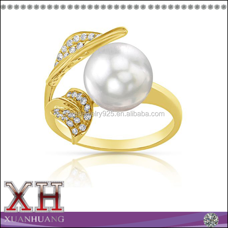 Sterling Silver Yellow Gold Diamond Accent South Sea Pearl Ring