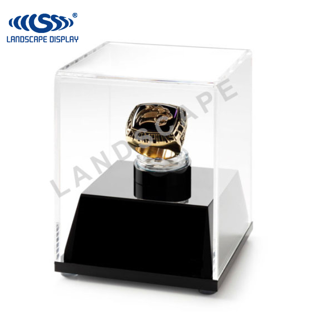 Custom made acrylic ring display / plexiglass ring display box / counter top ring display case