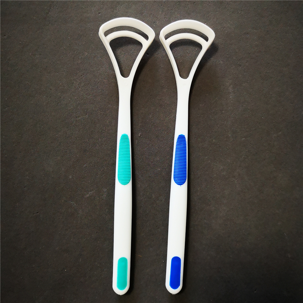2pcs dental care plastic tongue brush scraper cleaner
